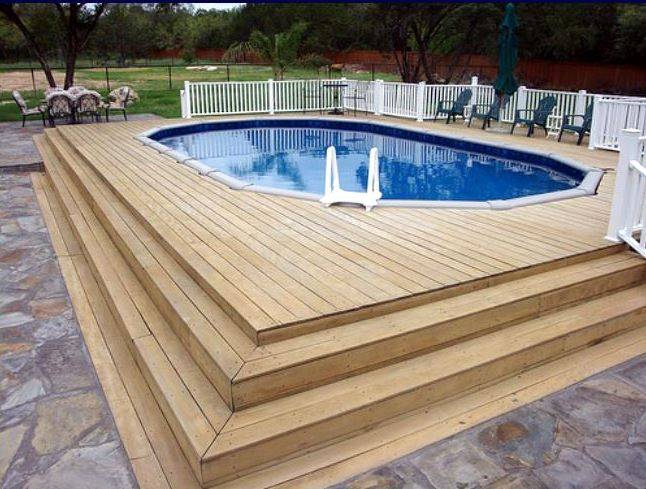 Above ground pool deck ideas bay area deck builder bay for Above ground pool vinyl decks